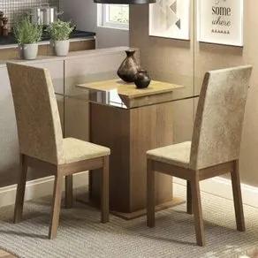 Conjunto Sala de Jantar Madesa Cau Mesa Tampo de Vidro com 2 Cadeiras Rustic/Imperial Cor:Rustic/Imperial