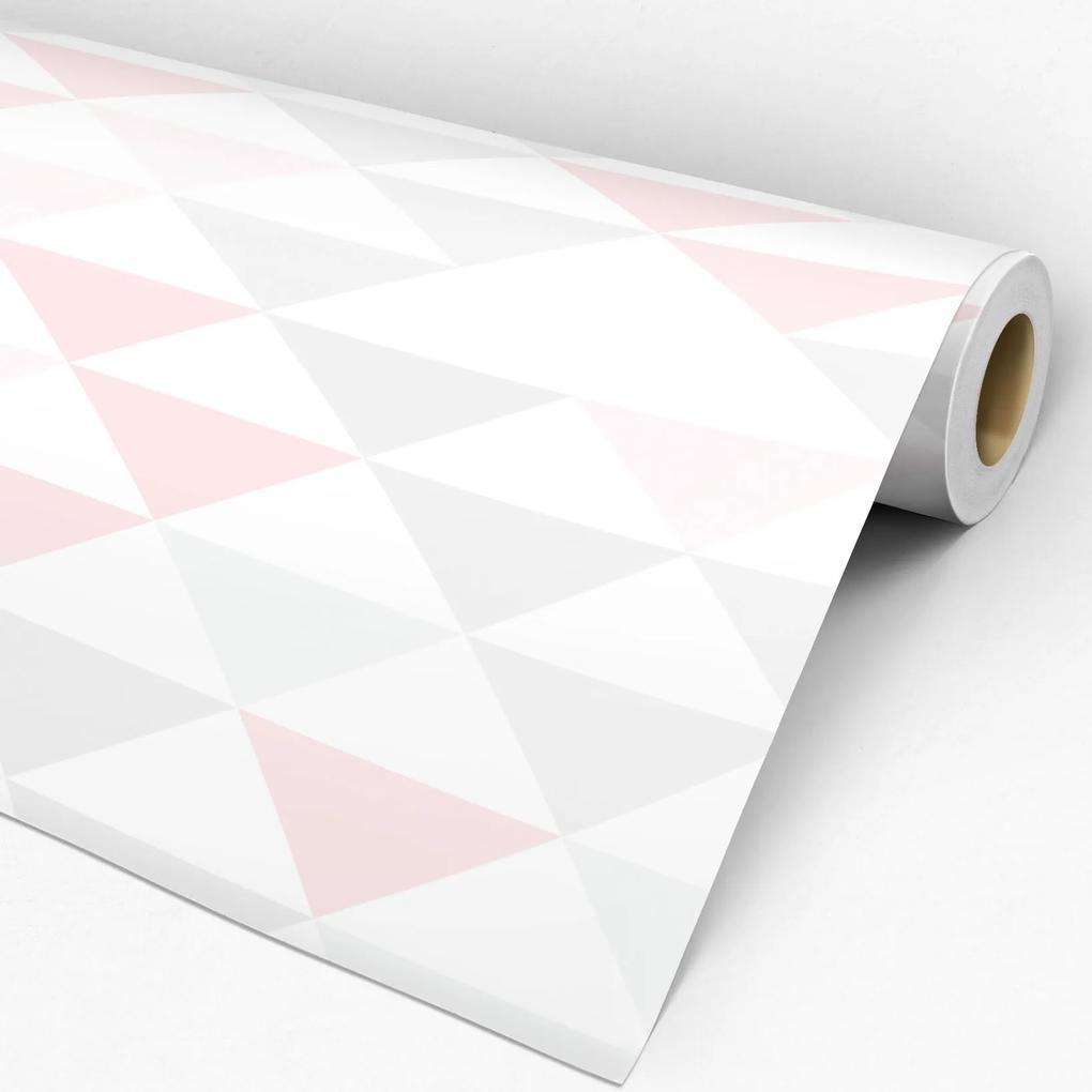 Adesivo triângulo rosa cinza e branco