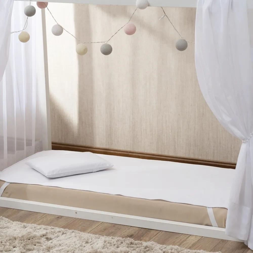 Capa Protetor de Colchão para Montessoriano Mini Cama Padrão 90 cm Impermeável Malha com Elástico Branca