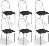Kit 06 Cadeiras Cromadas Noruega Preto Kappesberg