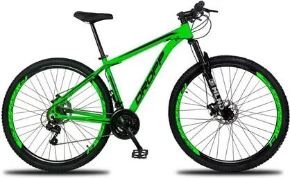 Bicicleta Aro 29 Quadro 19 Alumínio 21 Marchas Freio a Disco Mecânico Color Verde/Preto - Dropp