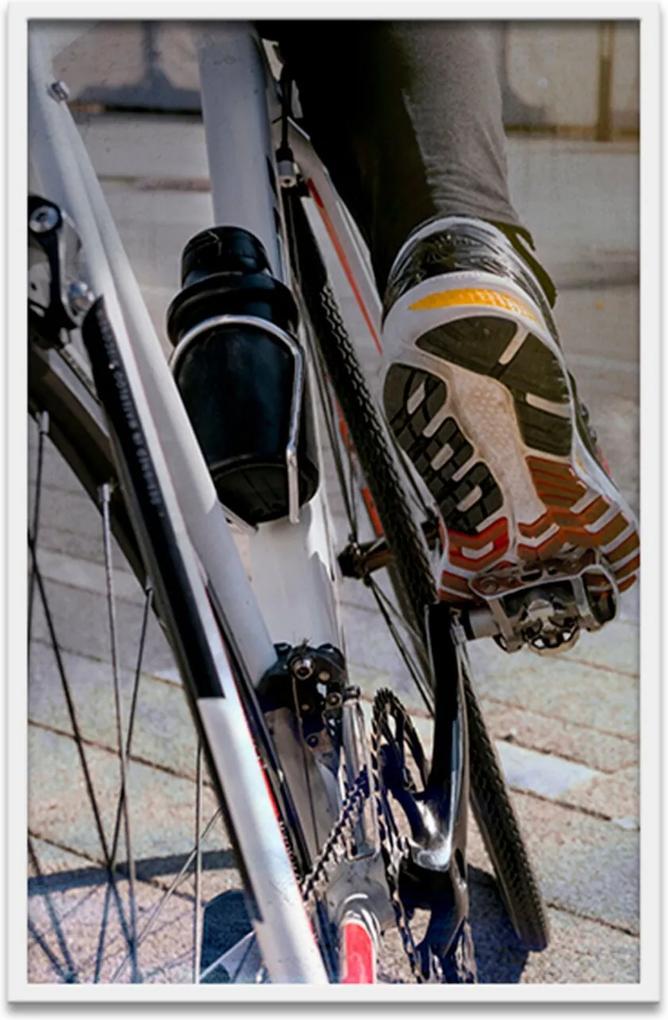 Quadro Oppen House 60X40Cm  Esporte Ciclismo De Estrada Moldura Branca Com Vidro