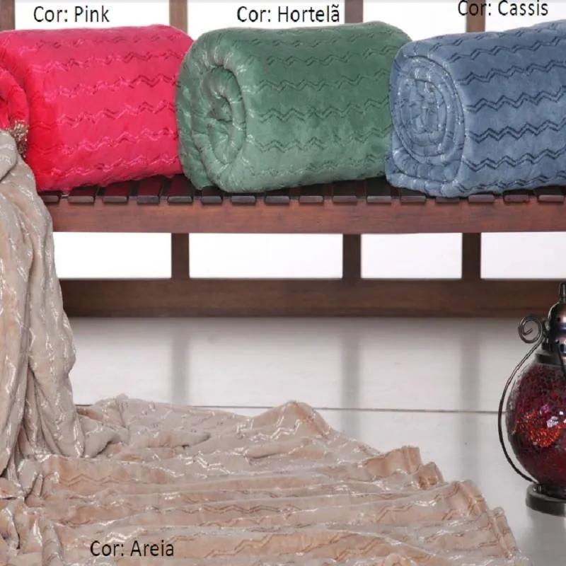 Manta Casal Fleece Filetada - PINK
