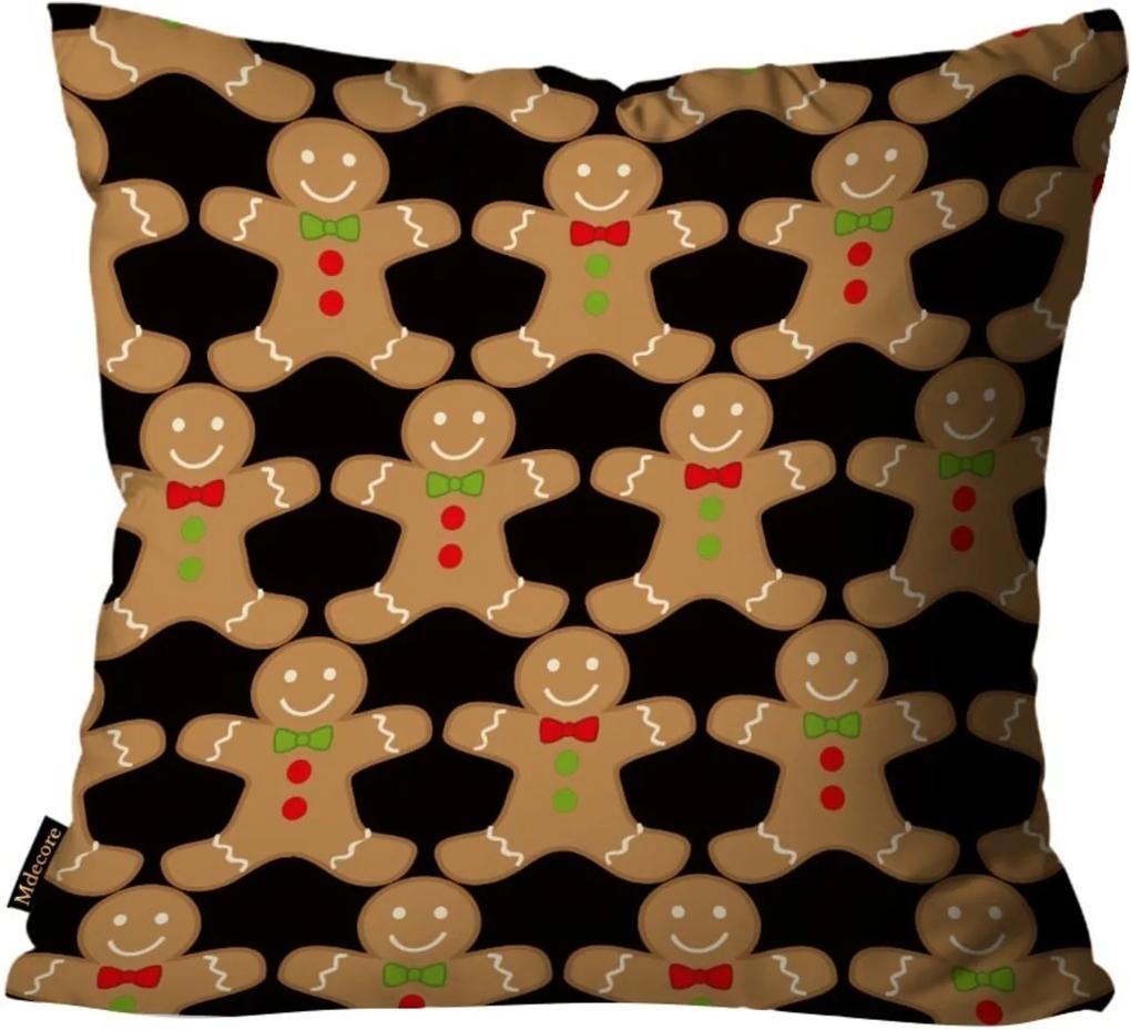 Capa para Almofada Mdecore Natal Biscoito Preta 45x45cm