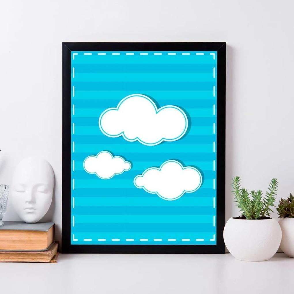 Quadro Decorativo Infantil Nuvens Preto - 20x30cm