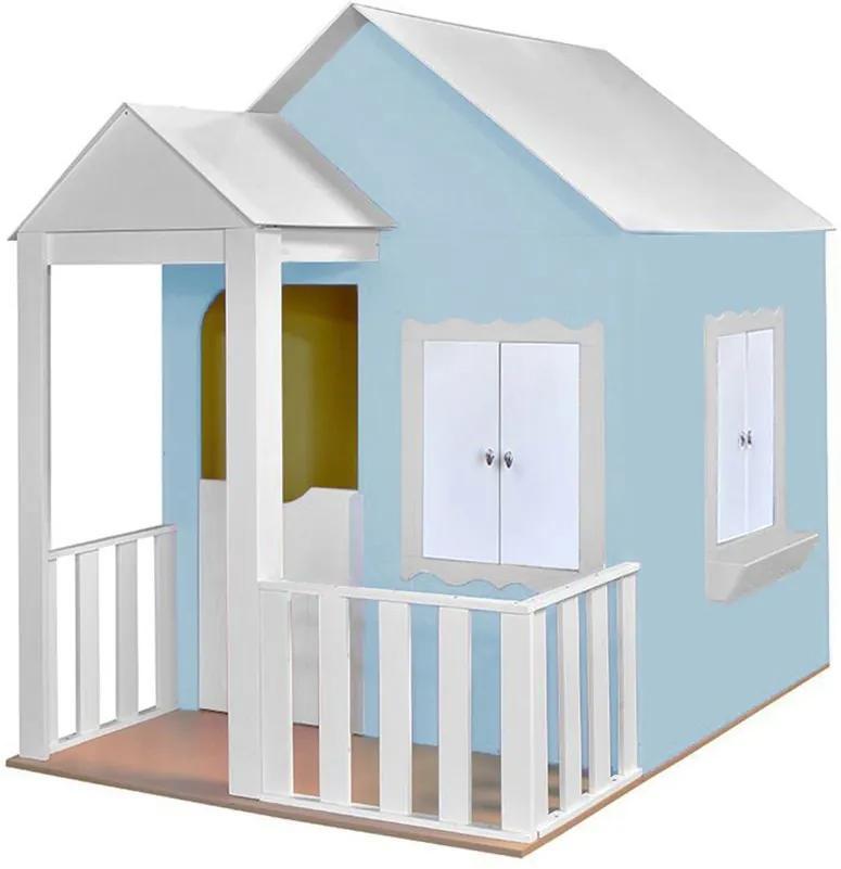 Casinha de Brinquedo com Cercado Azul Bebê/Branco - Criança Feliz