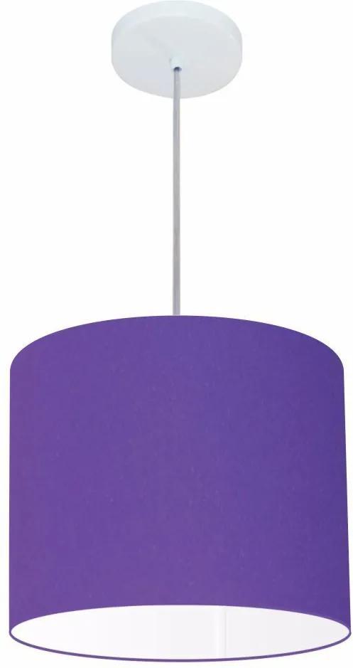 Lustre Pendente Cilíndrico Md-4113 Cúpula em Tecido 30x25cm Roxo - Bivolt