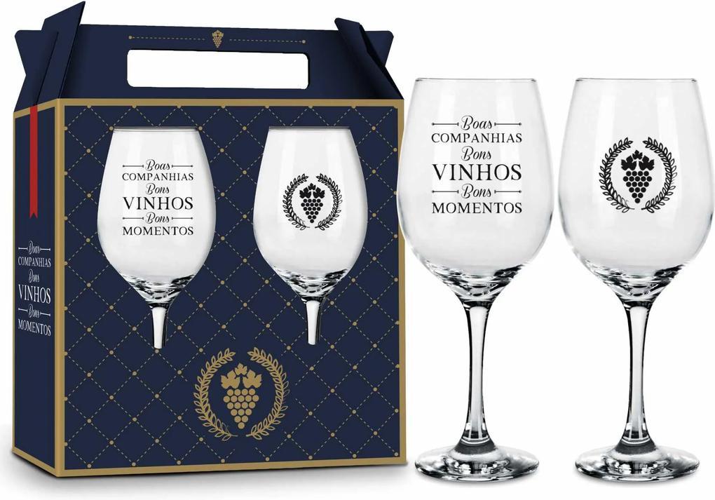 Conjunto 2 taÇas vinho - amizade - boas companhias bons vinho