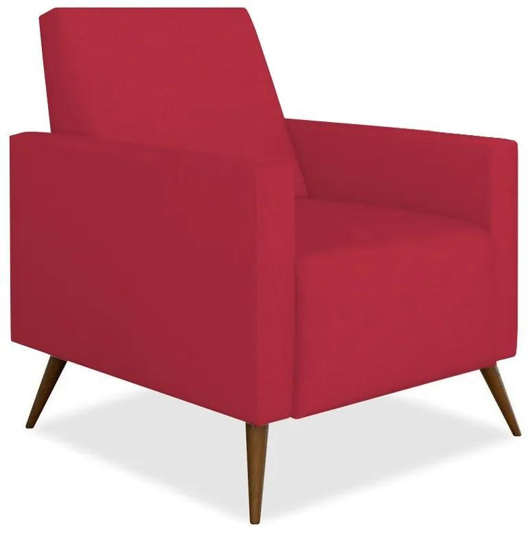 Poltrona Decorativa Amamentação Gabi Pé Palito Suede Vermelho