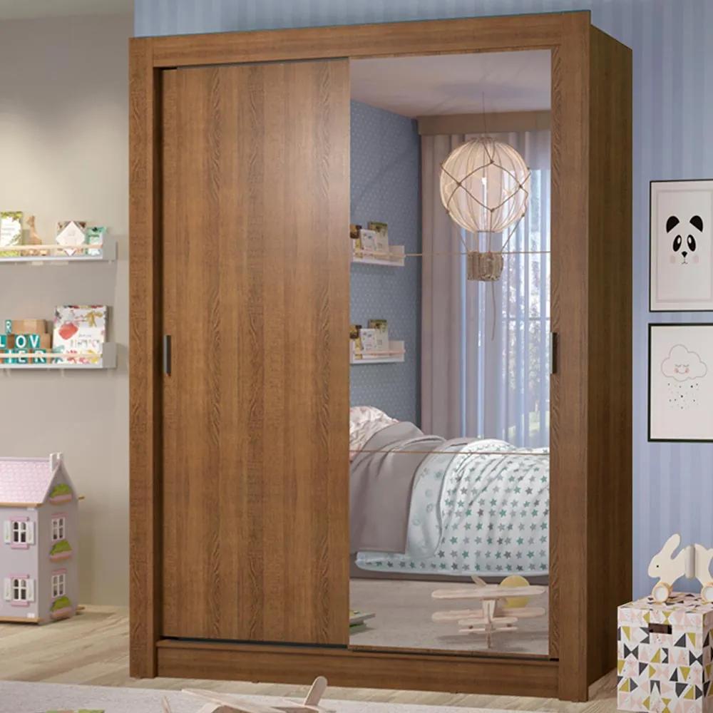 Guarda-Roupa Infantil Madesa Theo 2 Portas de Correr com Espelho 4 Gavetas Rustic Cor:Rustic