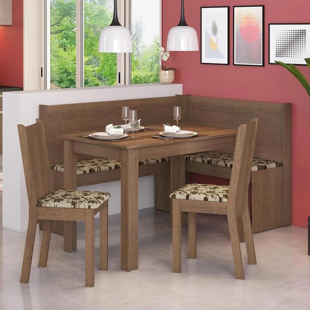 Canto Alemão Onill e 2 Cadeiras Rustic/Bege/Marrom - Madesa Móveis