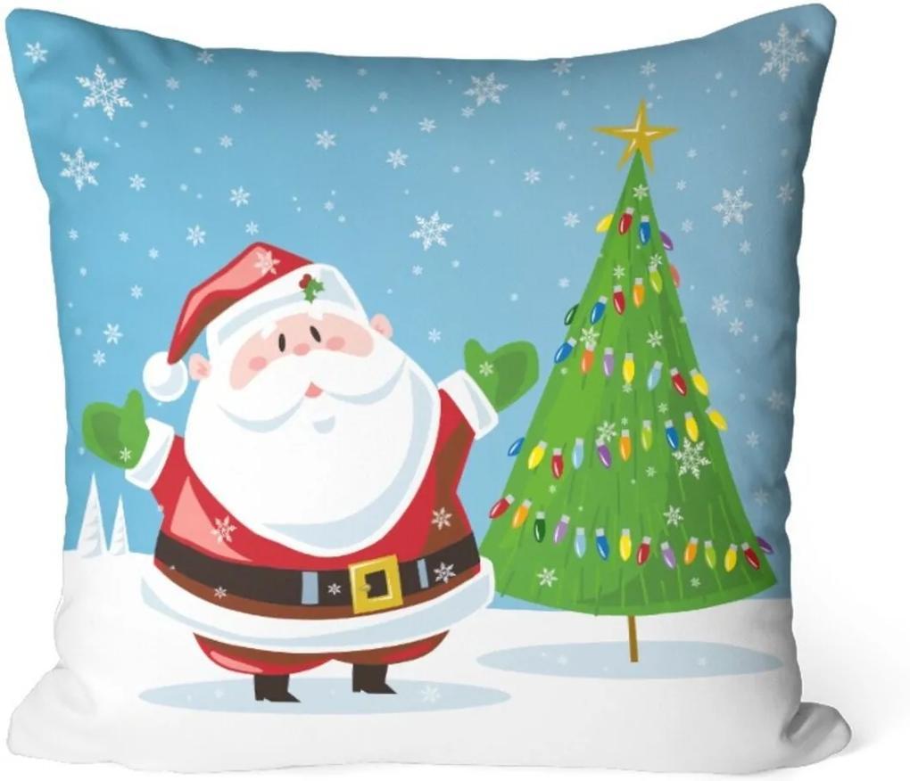 Capa de Almofada Love Decor Avulsa Decorativa Papai Noel com Pinheiro Azul