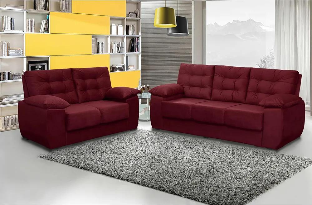 Conjunto De Sofá Luxemburgo 3 E 2 Lugares Tecido Suede Liso Vinho - Moveis Marfim