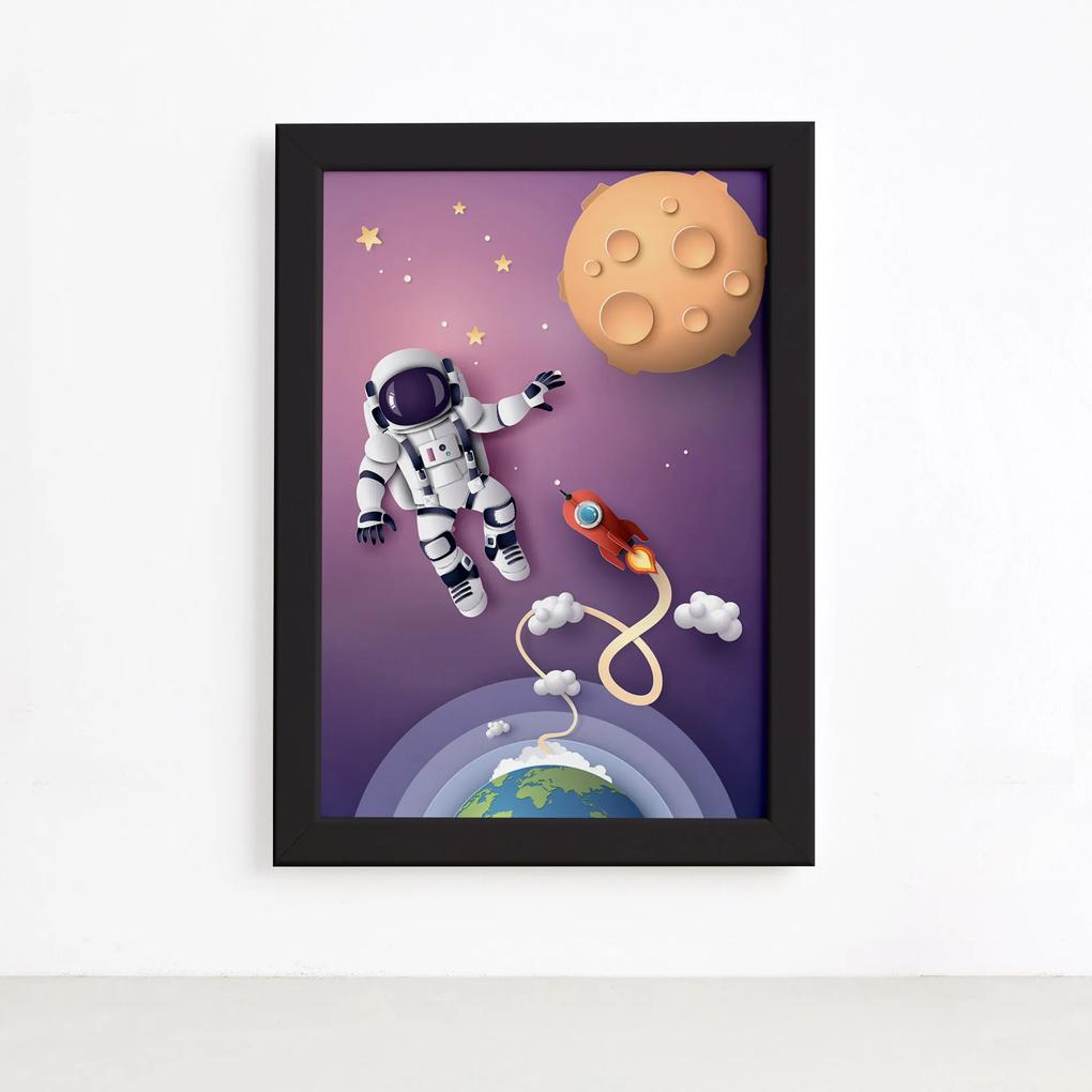 Quadro Astrounauta e Foguete no Espaço Moldura Preta 33x43cm