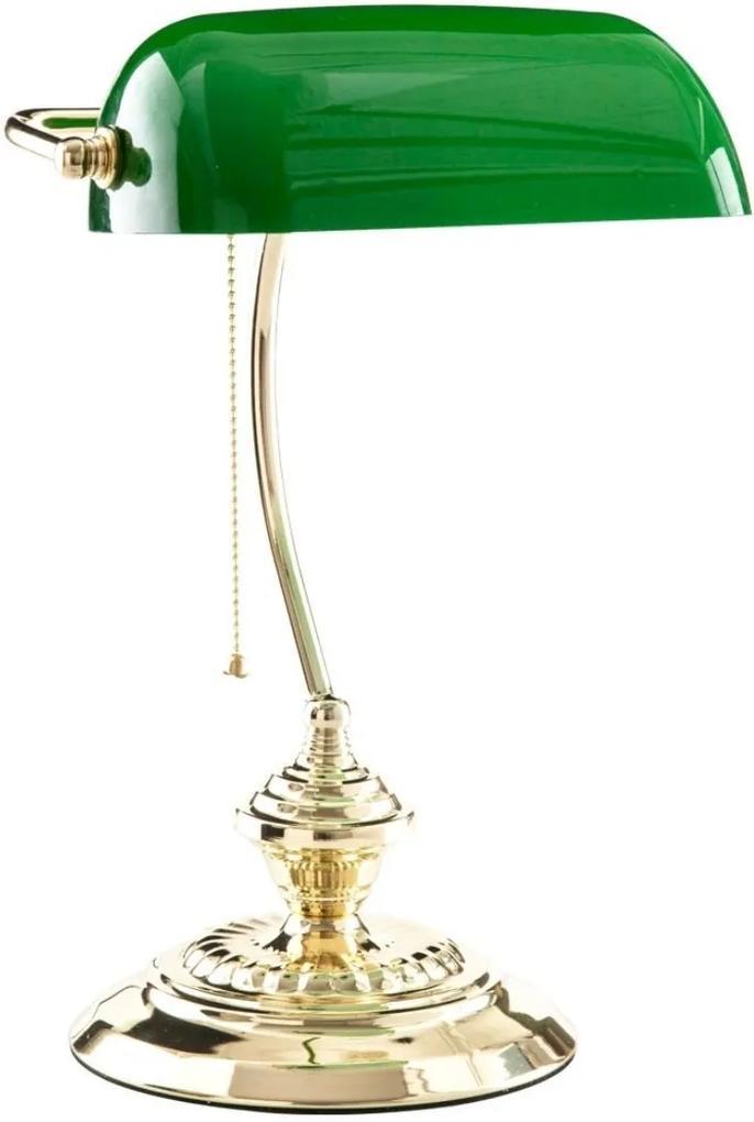 Luminaria De Mesa Metal Dourado Verde Banker