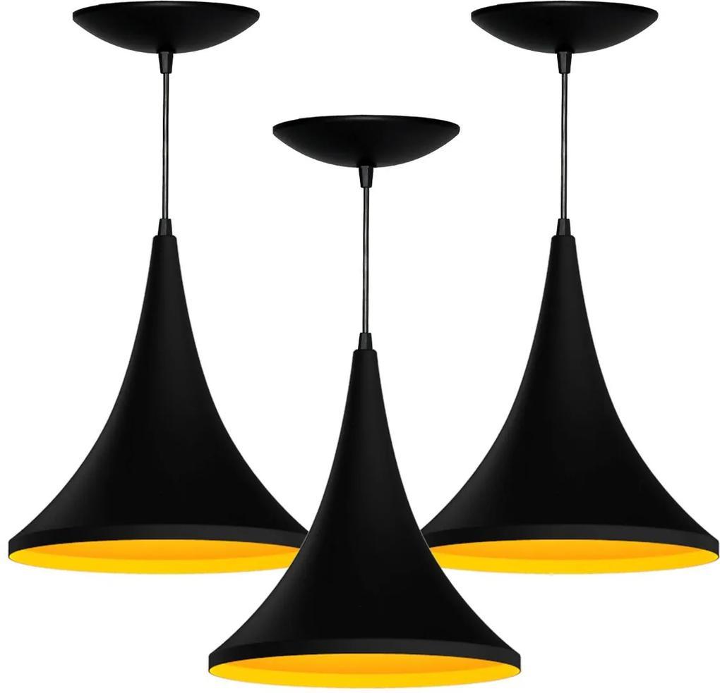 Kit 3 Pendentes Colibri (preto Textura / Amarelo)