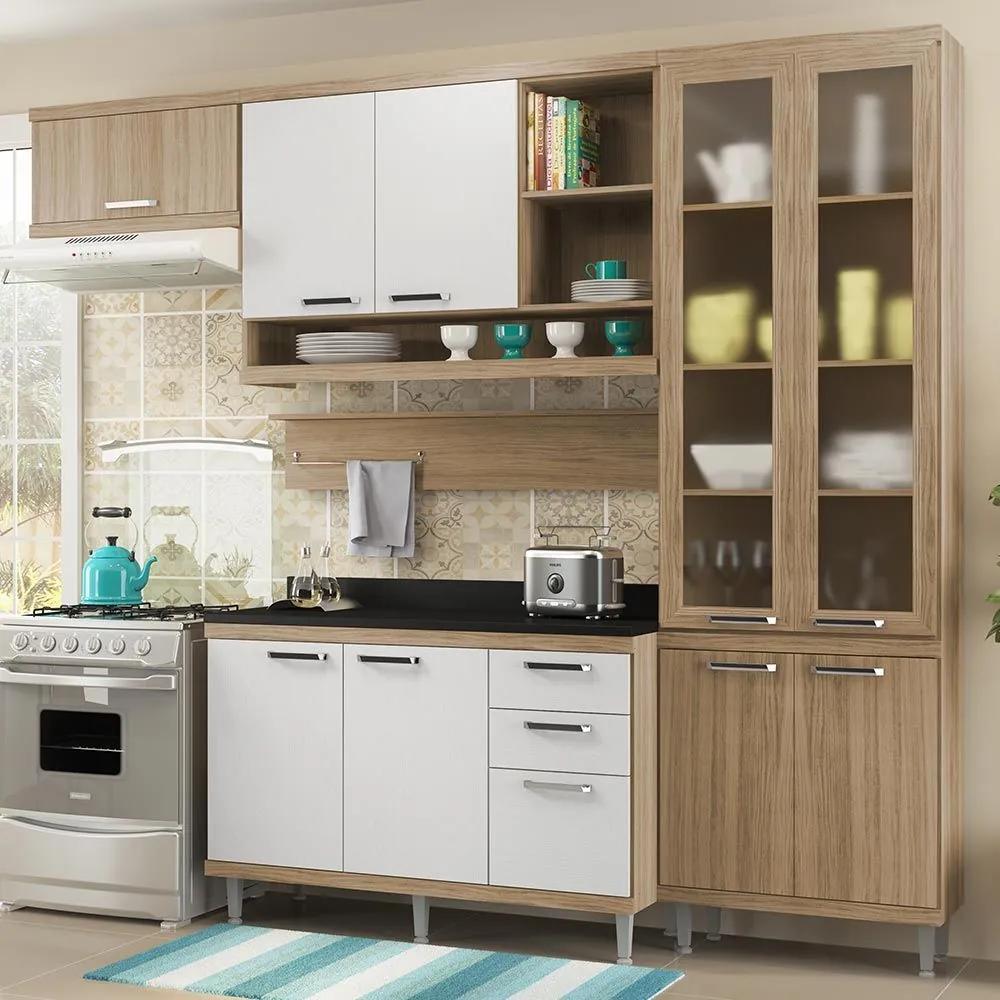 Cozinha Compacta 9 Portas Com Tampo e Vidro 5817 Branco/Argila - Multimóveis