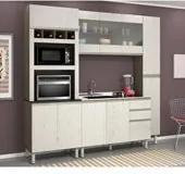 Cozinha Completa Modulada Malu Amêndoa Arezzo Tok em MDF 4 Módulos Nicioli