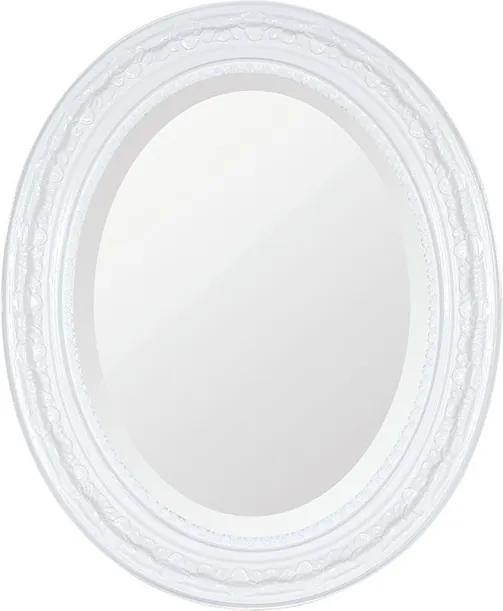Espelho Oval Bisotê Branco Puro Médio