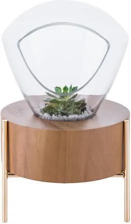 Vaso Decorativo Lampadari Vidro E Madeira Pequeno 36Cm X Ø21cm