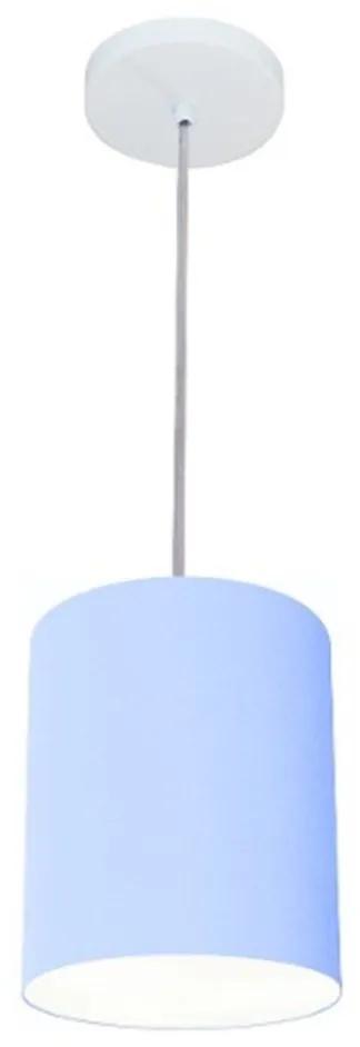 Lustre Pendente Cilíndrico Vivare Md-4012 Cúpula em Tecido 18x25cm - Bivolt - Azul Bebê - 110V/220V (Bivolt)