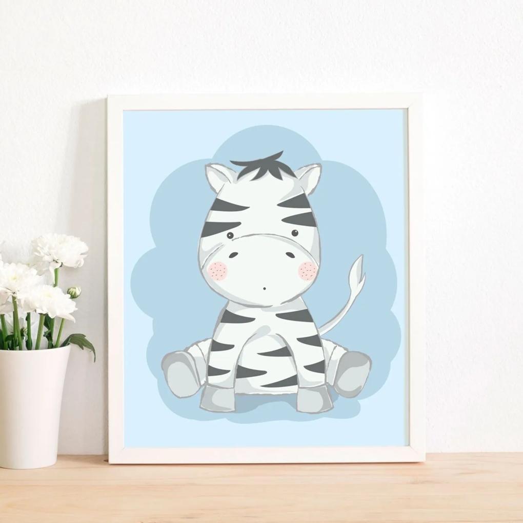 Quadro Decorativo Infantil Zebra Baby Branco - 30x40cm