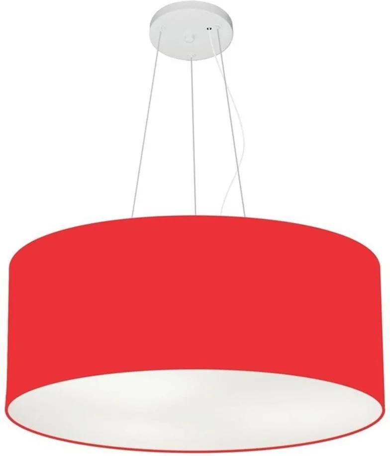 Lustre Pendente Cilíndrico Md-4047 Cúpula em Tecido 50x21cm Vermelho - Bivolt