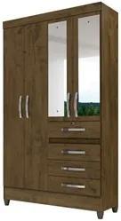 Guarda Roupa Solteiro Sobral 4 Portas Castanho Wood - Moval