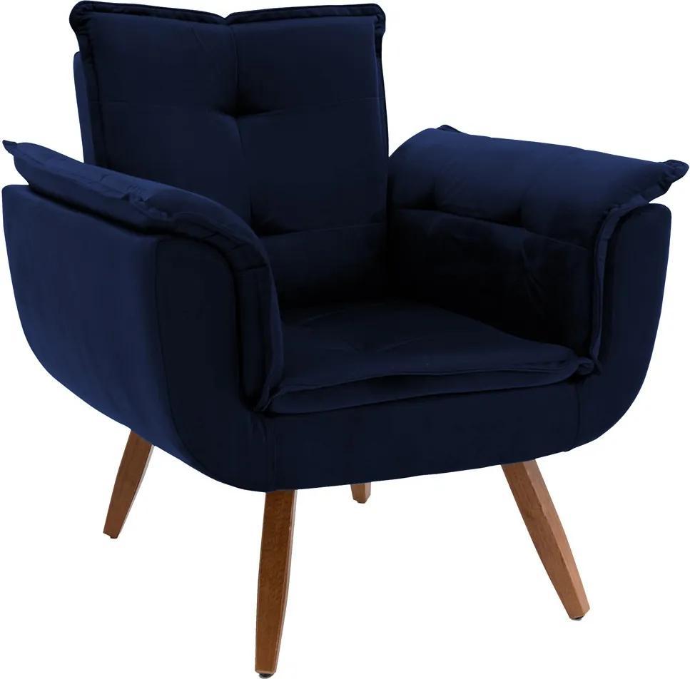 Poltrona Decorativa Sala de Estar Cristina Veludo Azul Marinho Pés Fixo Madeira - Gran Belo