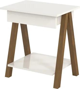 Mesa lateral Old Off White com Amêndoa - Tebarrot Móveis