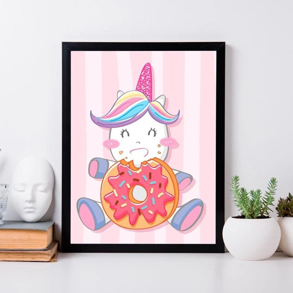 Quadro Decorativo Infantil Cute Unicorn Preto - 20x30cm