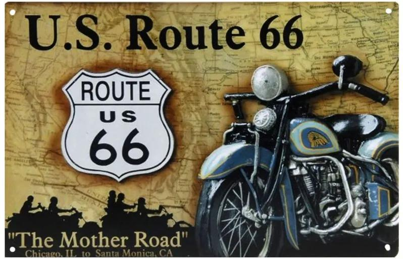 Placa Decorativa de Metal U.S. Route 66 30 x 20 cm