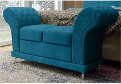 Sofá Recamier Divã com Botões Athenas Azul Velur Textura - JS Móveis
