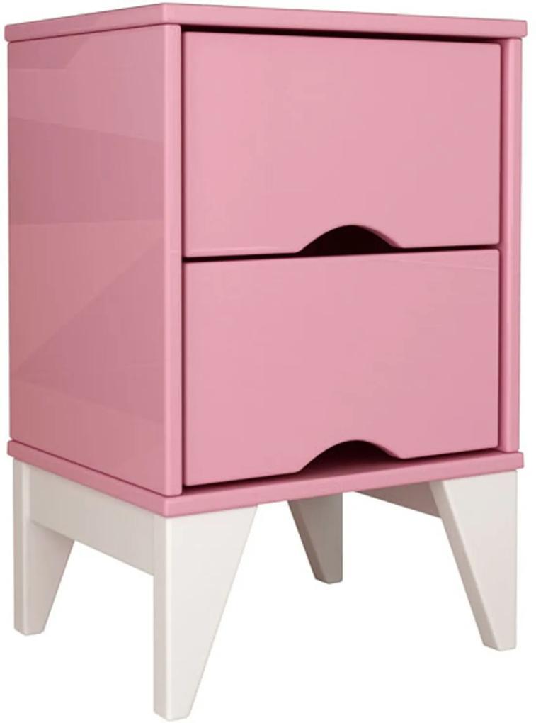Mesa de Cabeceira 2 Gav. Twister Quartzo Rosa/Branco Tcil Móveis