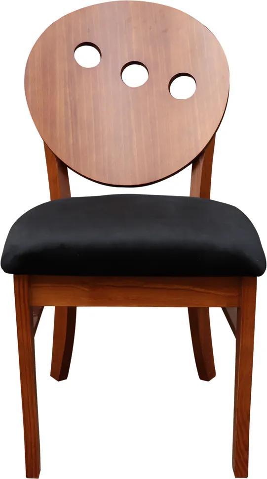 Cadeira Decorativa Sala de Jantar Teseu Madeira Maciça Poliéster Preto/Imbuia - Gran Belo