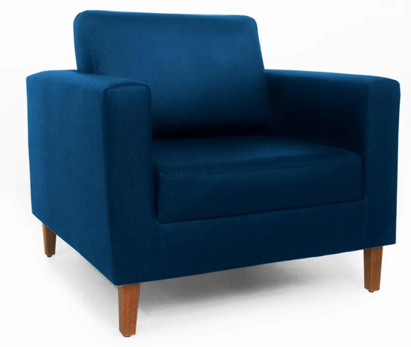 Poltrona Decorativa Gabriela Suede Azul Marinho