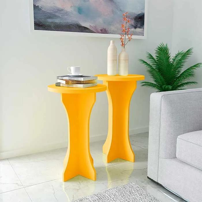 Conjunto de Mesas de Canto Kerpen 100% MDF 39cm Amarelo