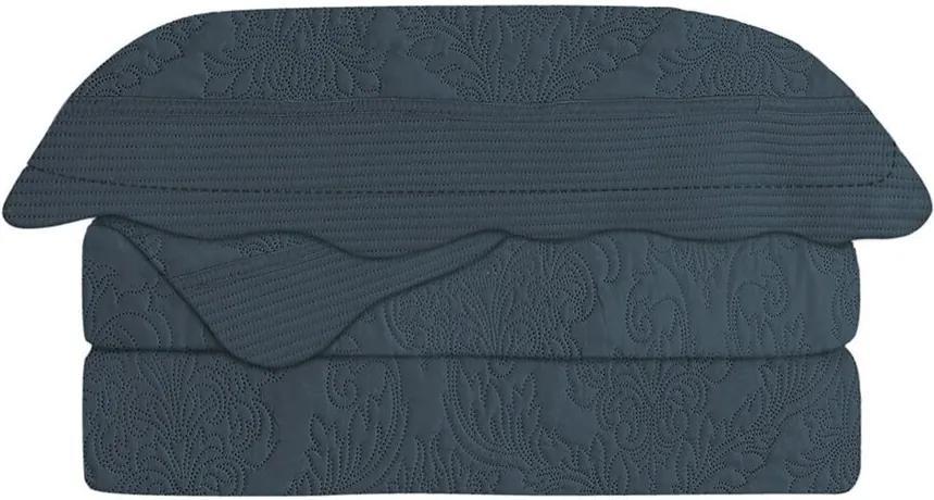 Colcha Matelasse King Antique Marinho 3pçs Camesa 260x 280cm