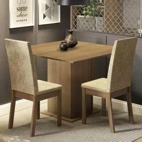 Conjunto Sala de Jantar Madesa Nati Mesa Tampo de Madeira com 2 Cadeiras Rustic/Imperial Cor:Rustic/Imperial