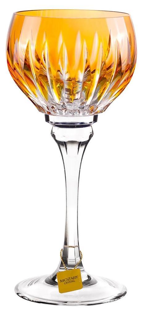 Taça de Cristal Lapidado Artesanal p/ Vinho Branco - Amarelo - 16