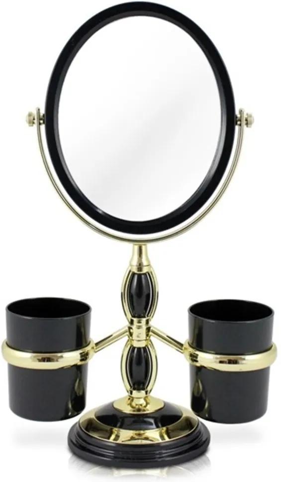 Espelho de Mesa Duplo com Aumento 5x e Suportes Laterais Jacki Design Beauty Preto