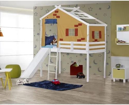 Cama Infantil Prime com Escorregador e Telhado Tijolinho Amarelo - Casatema
