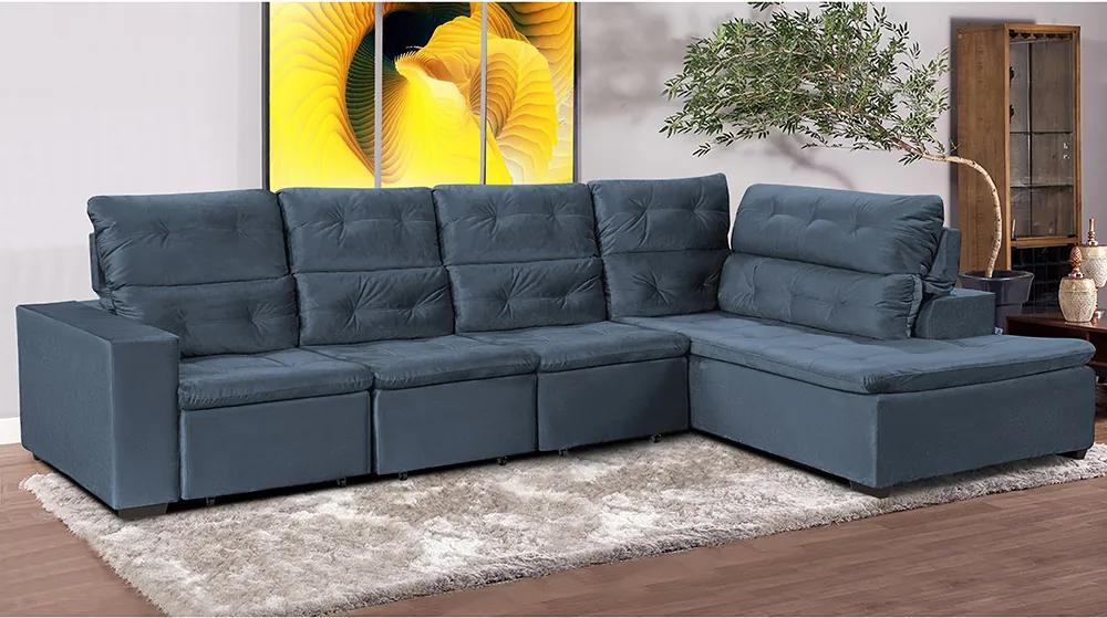 Sofá Retrátil Reclinável Cama Inbox Kiev 3,20x2,00m Com Chaise Tecido Suede Velusoft Azul