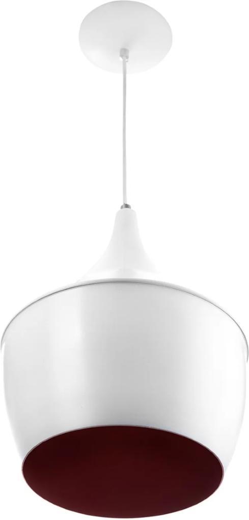Luminária Pendente Gourmet Balão 32X25cm Em Aluminio Branco