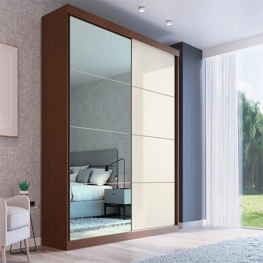 Guarda-roupa Noronha (L: 219cm) C/ 1 Porta Espelhada 100% MDF Nozes /