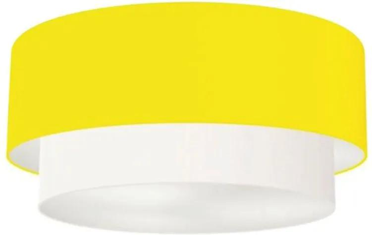 Plafon Duplo Cilíndrico Vivare Md-3065 Cúpula Tecido 80x70cm - Bivolt - Amarelo / Branco - 110V/220V (Bivolt)