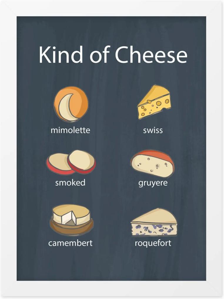 Quadro Adoraria A4 Cheese Kinds Preto