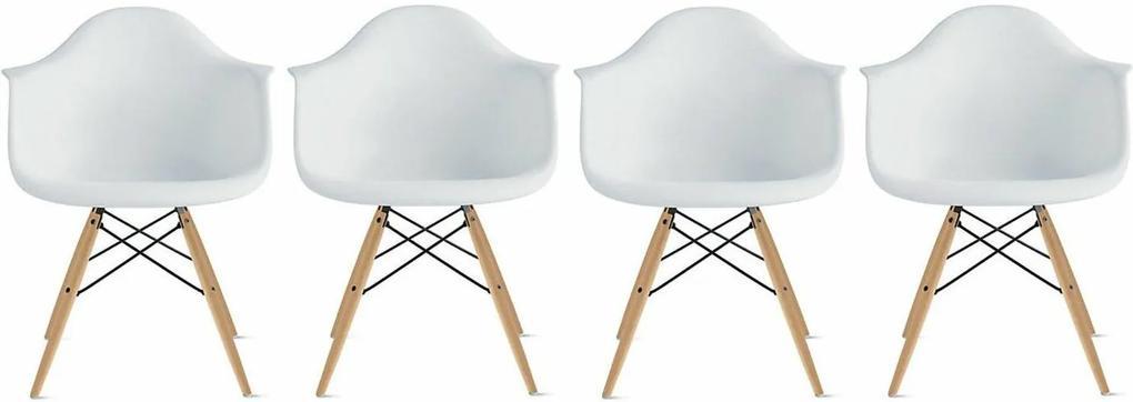 Conjunto 4 Cadeiras Eiffel Eames DAW Branca