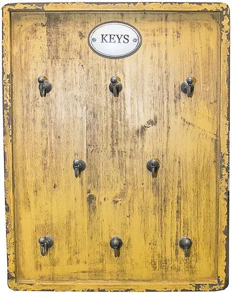 Porta Chaves Amarela com 8 Ganchos Keys