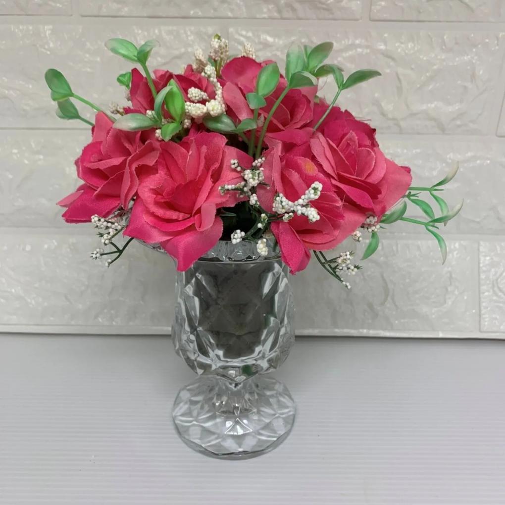 Vaso taça de vidro diamond com rosas